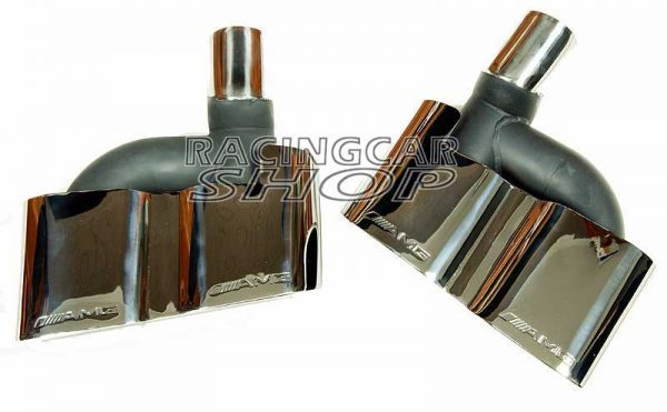 S65 AMG STYLE CHROME QUAD EXHAUST MUFFLER TIPS PIP 1PAIR for Mercedes Benz W221 S-Class M114W 4