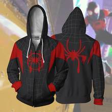 2019 Hoodies Kostüm In Die Spiderverse 3d Gedruckt Zipper Hoodies Tops Spider -Man: in Die Spinne-Vers Zip Up Hoodie(China)