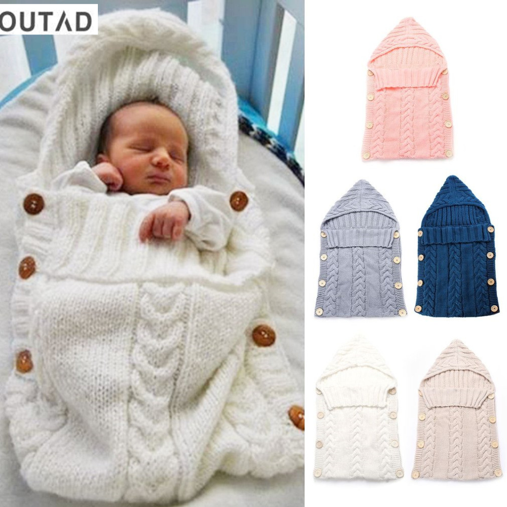 Newborn Baby Wrap Swaddle Blanket Kids Toddler Wool Knit Blanket Swaddle Sleeping Bag Baby Sleep Sack Stroller Wrap 0-12 Months