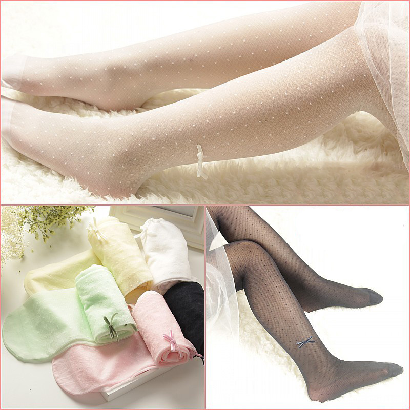 Summer Thin Children Girls Tights Ballet Dance Bow Baby Girls Stockings Transparent Kids Candy Color Pantyhose For Girls