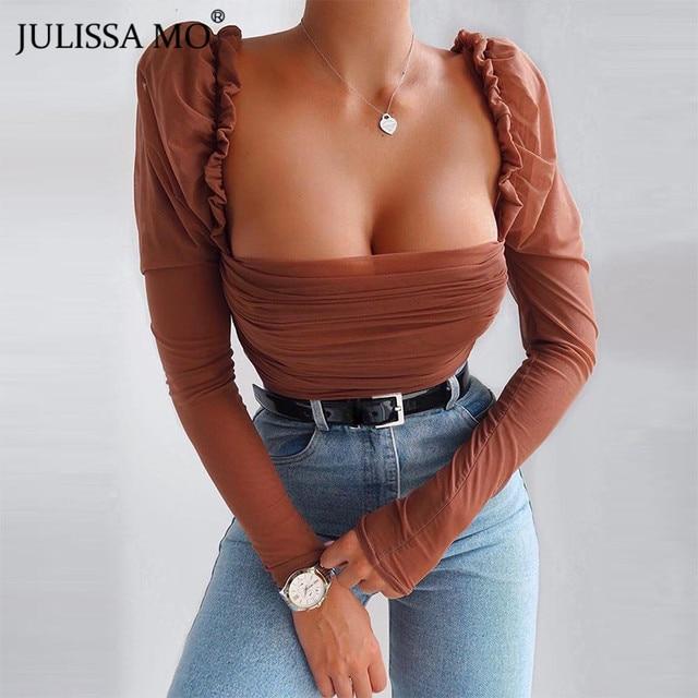 JULISSA MO Black Double Layer Mesh Sexy Bodysuit Women Tops Autumn Long Sleeve Mid Waist Bodysuits Ladies Bodycon Overalls 2020