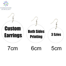 SOMESOOR Multi-Szies Customized Round African Wooden Drop Earrings Front Back Print Handmade Wood Dangle Jewelry For Women Gifts
