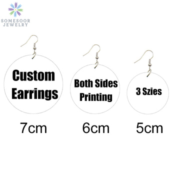SOMESOOR Multi-Szies Customized Round African Wooden Drop Earrings Front Back Print Handmade Wood Dangle Jewelry For Women Gifts unfinished wood printing africa girl round drop earrings wooden african hiphop tribal handmade diy jewelry natural accessories