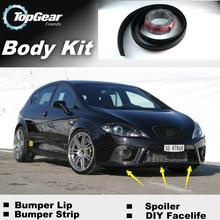 Spojler zderzaka deflektor usta dla SEAT Leon 1M 1P 5F przedni Spoiler spódnica dla TopGear przyjaciele do tuningu samochodu widok/Body Kit / Strip