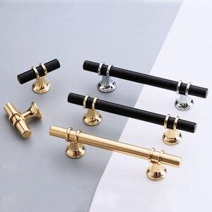 KK&FING Modern Zinc Alloy Black Gold Door Handles Kitchen Cabinet Handles Solid Drawer Knobs Fashion Furniture Handle Hardware