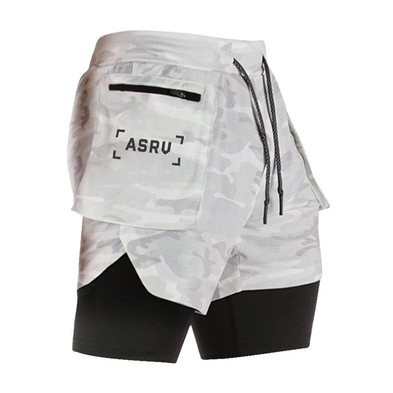 New Summer Zipper Pockets Double-deck Shorts Mens Joggers Fitness Sporting Bodybuilding Shorts Quick-Drying Casual Short Pants