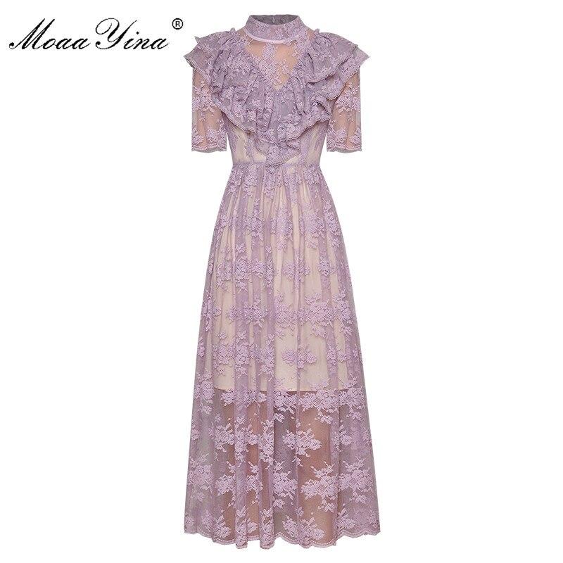 MoaaYina Fashion Designer Dress Spring Summer Women's Dress Stand Collar Short Sleeve Lace Ruffles Elegant Party Dresses