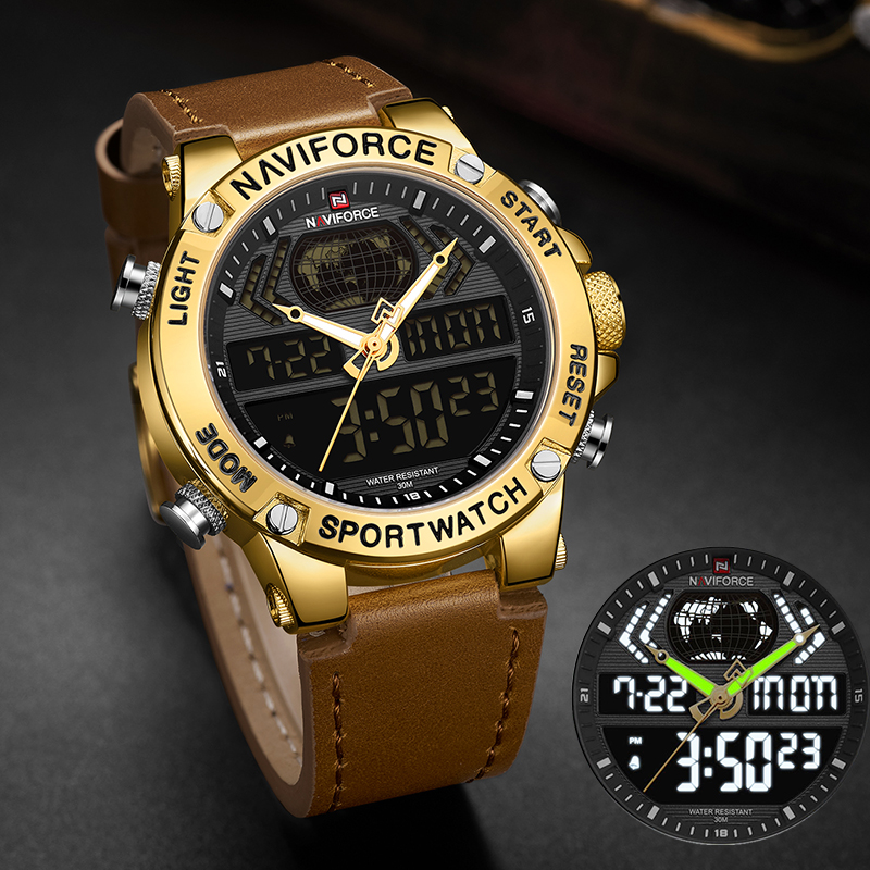 NAVIFORCE Luxury Gold Mens Watch Sport LED Digital Quartz Watches Military Leather Waterproof Clock Men Relogio Masculino 2019