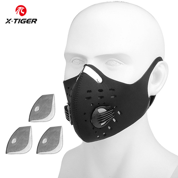 X-TIGER Cycling Face Mask PM 2.5 Bike Mask Activated Carbon Breathing Valve Sports Masks With Anti-Pollution Filter 31