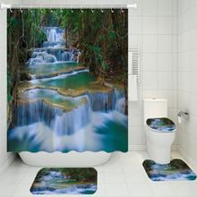 3/4 шт наборы штор для душа с природными пейзажами водопад ковер