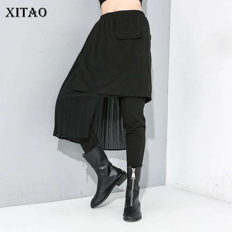 XITAO Irregular Pleated Pencil Pants Fashion New Elastic Waist Pocket Black Elegant False Two Piece Full Length Pants ZLL4242