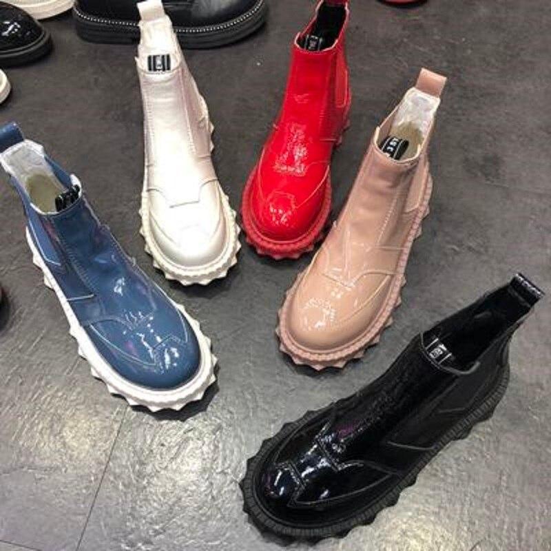 Nouveau cuir verni chaussures plates chaussures pour femmes chaussures décontractées femmes bottes bottes courtes Martin bottes chaussures de travail chaussures moto botte - 4