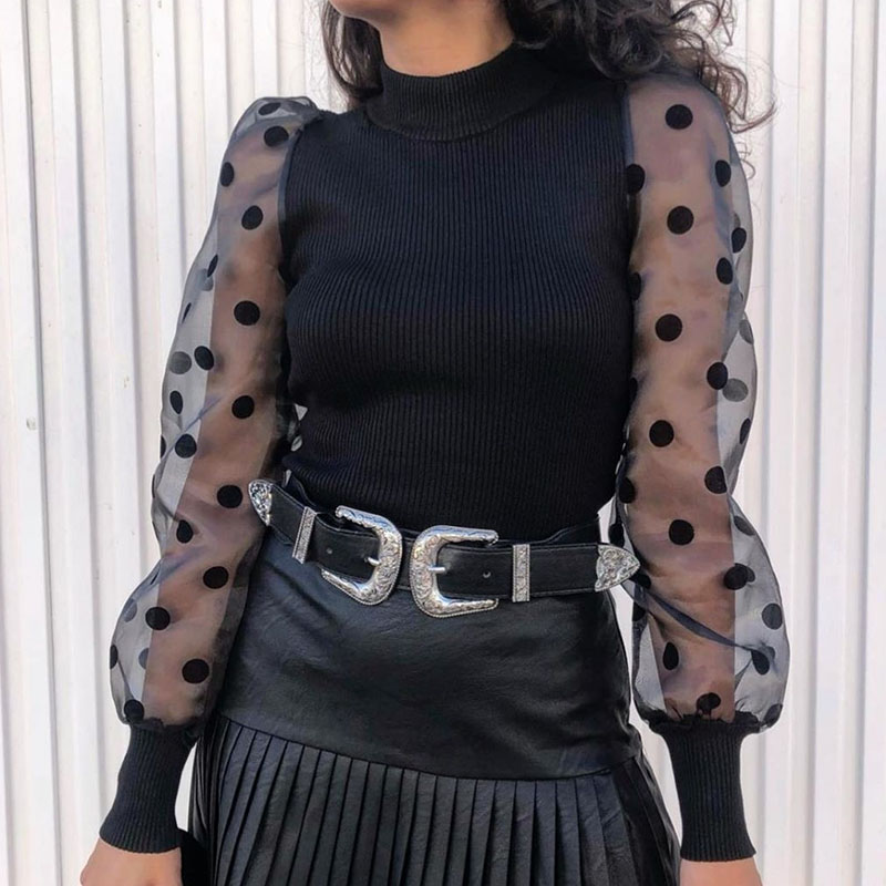 Fashion 2019 Ribbed Knitted Women's Blouses Mesh Dot Long Puff Sleeve Blusas Solid Lady Vintage Shirts Autumn Women Tops LX219