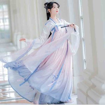 Chinese Tradition Gradient Pink Blue Hanfu Women Fantasia Female Carnival&Halloween Cosplay Costume  Hanfu Dress For Lady Plus carnival halloween costume for women girl pink fairy princess costume dress fantasia adult cosplay clothing