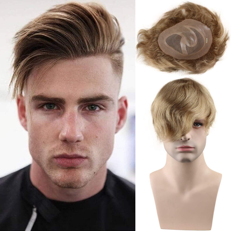 Men's Toupee 10x8 European Human Hair Swiss Mono Lace Thin Skin Hairpiece Hair Replacement System For Men Toupee #21 Ash Blonde
