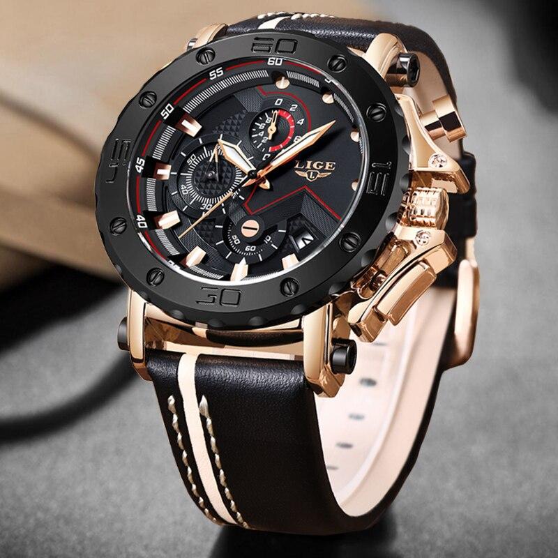 2020LIGE New Fashion Mens Watches Top Brand Luxury Big Dial Military Quartz Watch Leather Waterproof Sport Chronograph Watch Men 3