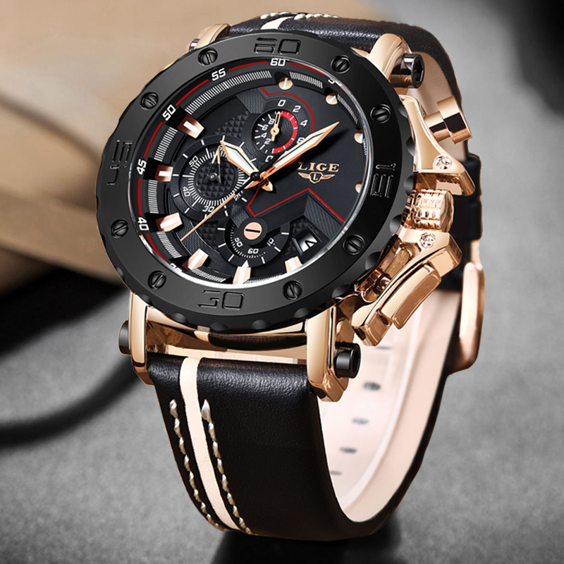 2020LIGE New Fashion Mens Watches Top Brand Luxury Big Dial Military Quartz Watch Leather Waterproof Sport Chronograph Watch Men 2