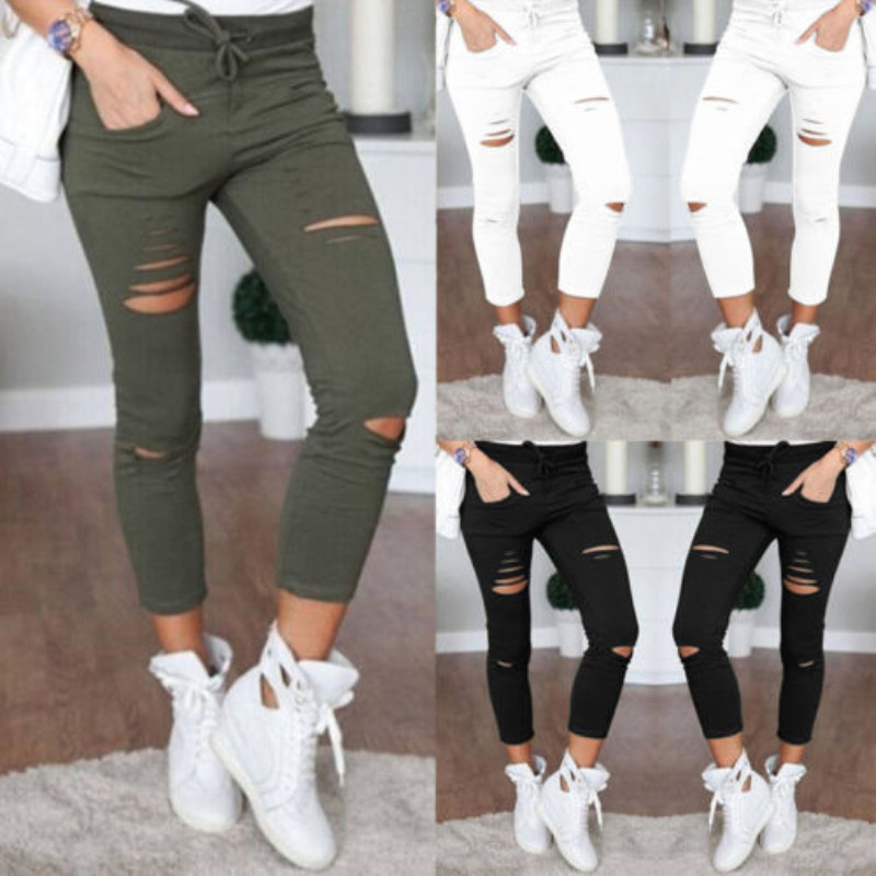 Fashion Streetwear Women Leggings Ladies Stretch Faded Ripped Slim Fit Skinny Denim Jeans Pants New