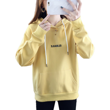 New Fashion Corduroy Long Sleeves Letter Harajuku Print Pullovers Tops O-neck Womens Hooded Sweatshirt