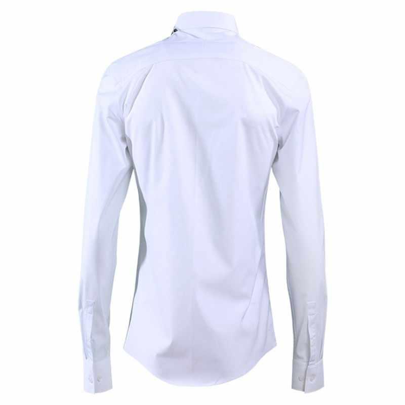 Harajuku Wit Afdrukken Casual Shirts Mannen Dress Fashion Slim Fit Shirt Vierkante Kraag Lange Mouwen Office Shirt Camisa Masculina