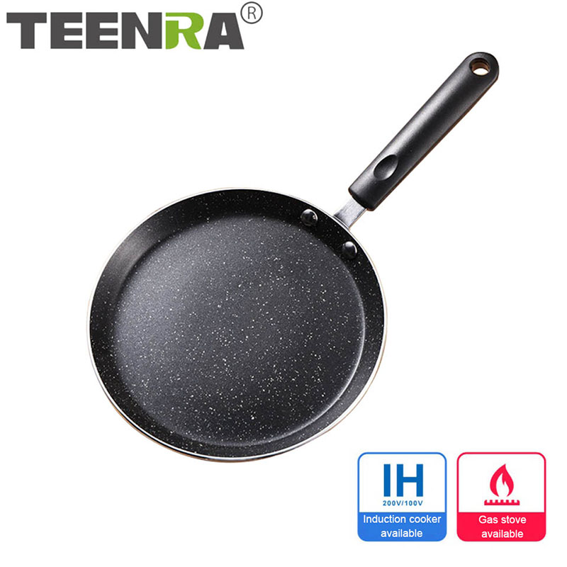 TEENRA Non-stick Frying Pan Maifan Stone Wok Aluminum Alloy Pan Pancake Egg Steak Frying Pot Pizza Panckae Pans Cooking Tools