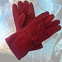 Leather Welding Gloves Red Long High Temperature Heat Resistant Safety Protective Fireplace Accessories Barbecue Welders