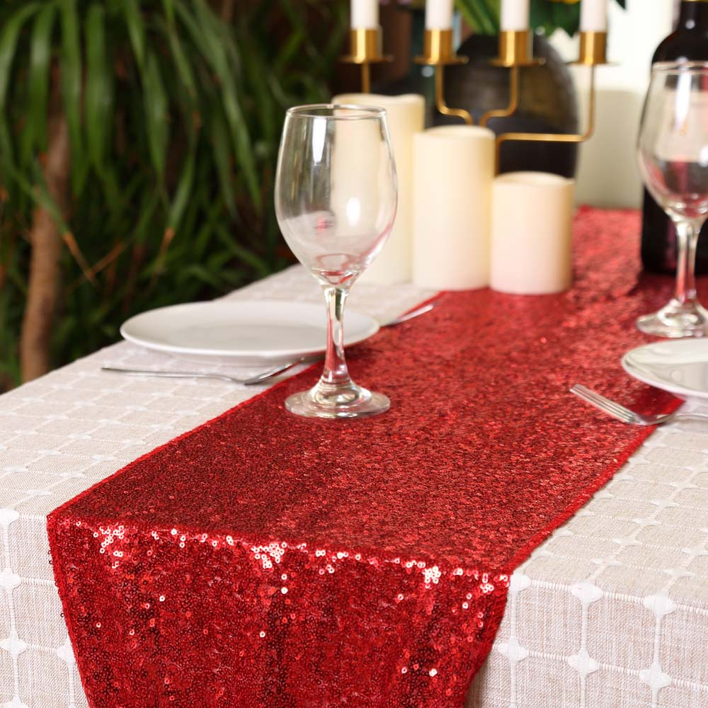 Royaltime Glitter Red/Rose Gold/Silver Sequin Table Runners Sparkly Wedding Party Banquet Tablecloth Decor For Bedroom 30x180cm