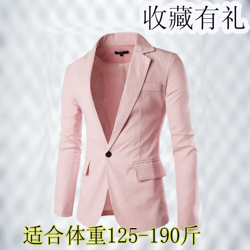 Summer Pink Small Suit Men's Cotton Linen Korean-style Fashion Youth Handsome Slim Fit Suit Thin Large Size Casual Coat Spring