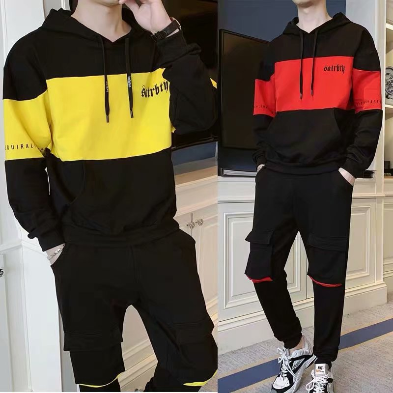 2019 Autumn Clothing New Men Hoodie Suit Sports Casual Shirt Youth Students Tide Hooded Coat Two-Piece Set Workwear
