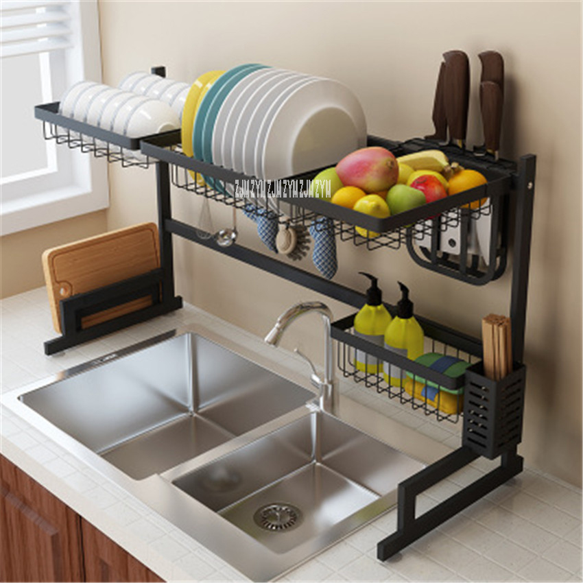 KQ-SCJ 201/304 Stainless Steel Kitchen Shelf Wall Mounted Spice Knife Rack Dish Drainer Chopstick Holder Combination Organizer
