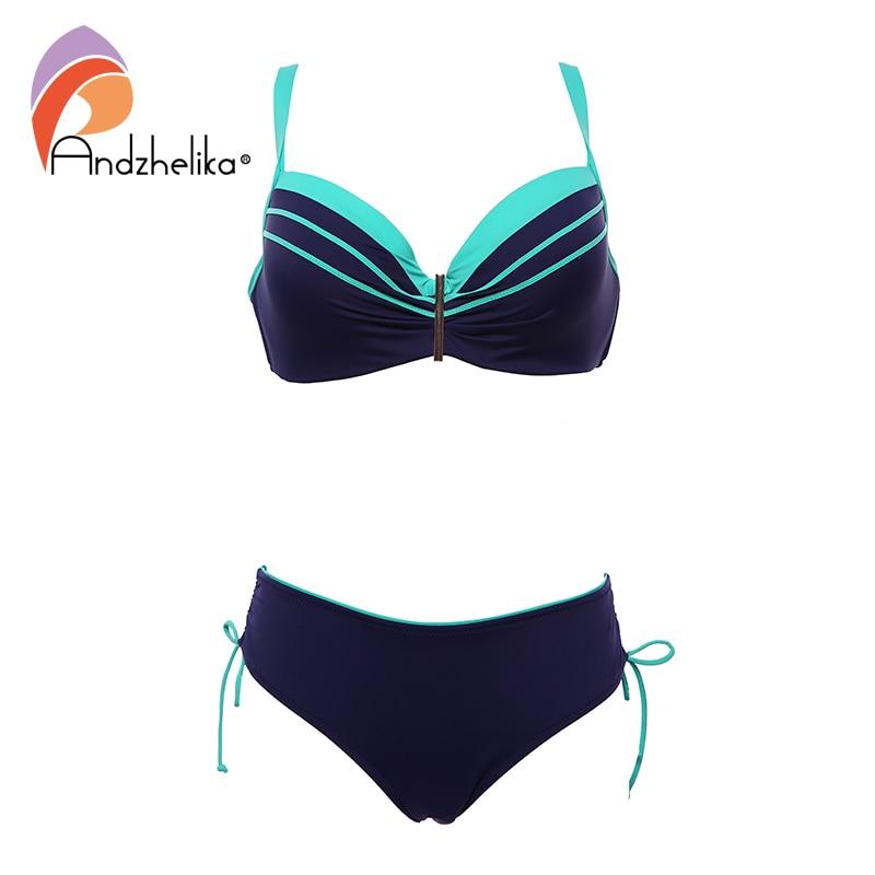 Andzhelika Sexy Bikinis Women Large Cup Two Pieces Swimsuits Push Up Bikini Set 2020 Beach Plus Size Swimwear Bathing Suit