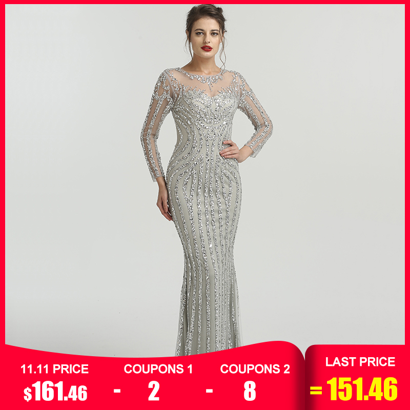 Grey Luxury Long Sleeves Sparkly Evening Dresses Mermaid Sexy Diamond Beading Evening Gown  2019  Real Photo  LA6591