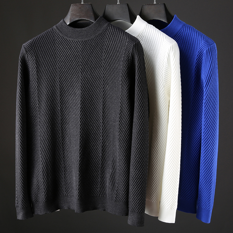 JSBD brand light luxury 2019 autumn and winter new semi-turtleneck pure color sweater men thickened warm jumper