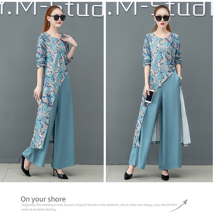 Printed Two Piece Sets Outfits Women Plus Size Splicing Long Tops And Wide Leg Pants Suits Elegant Office Fashion Korean Sets 52