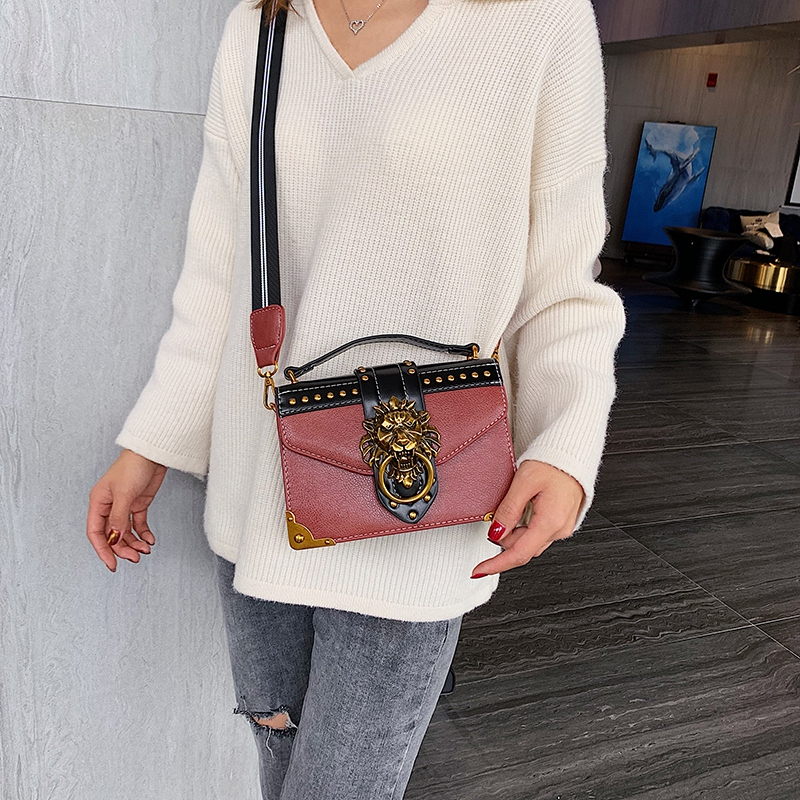 H9cec01b0d3d94fdba21fc3d92285a300a - Female Fashion Handbags Popular Girls Crossbody Bags Totes Woman Metal Lion Head  Shoulder Purse Mini Square Messenger Bag
