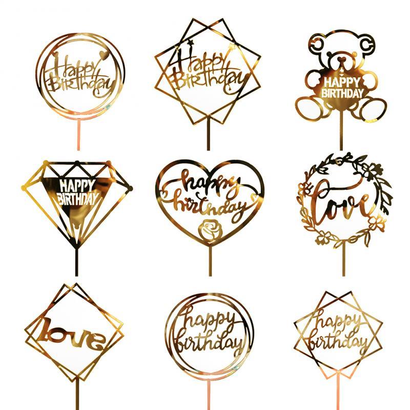 Acrylic Love Wedding Cake Topper Happy Birthday Cake Topper For Cupcake Birthday Party Decoration TSLM2(China)