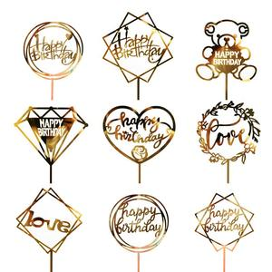 Acrylic Love Wedding Cake Topper Happy Birthday Cake Topper For Cupcake Birthday Party Decoration TSLM2(China)