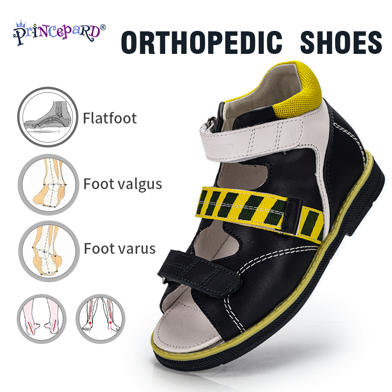 Princepard New Apring Summer Shoes Children Breathable Yellow And Blue Kids Orthoped Sandals Flat Casual Shoes For Toddler Boys