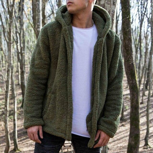 2019 Hot Winter Warm Men Fashion Thick Hoodies Tops Fluffy Fleece Fur Jacket Hooded Zippers Coat Outerwear Long Sleeve Cardigans