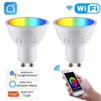 Tuya-bombillas LED GU10 inteligentes con WiFi, RGBW C + W, lámparas blancas regulables de 5W, Control remoto, funciona con Alexa y Google Home