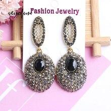 Veyofun Ellipse Rhinestone Drop Earrings for Women ZA Vintage 2019 New Fashion Jewelry