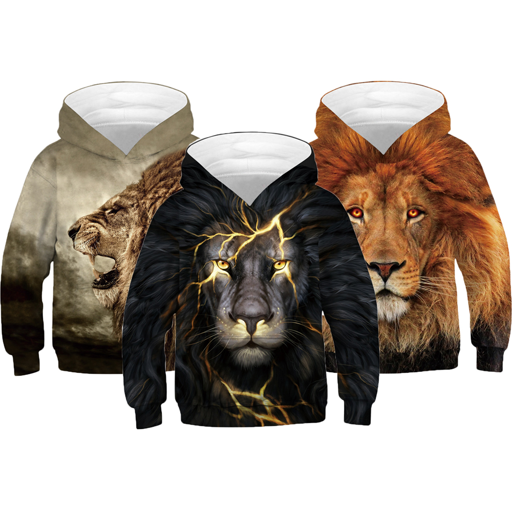 3D LION Boys Hoodies Teens Autumn Hooded Sweatshirt For Boys Kids Sweatshirt Coats Children Clothes Long Sleeve Pullover Tops