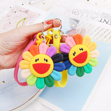 2019 Cute Cartoon Colorful sunflowers Key chain DIY Mobile Phone Decorative Pendant for Women Bag Backpack  Jewelry key Chains