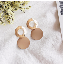 rose gold  jade earrings opal drop jewelry Simple curved disc geometry hollow Black E3741