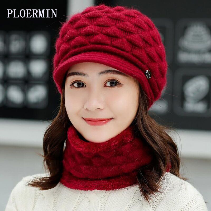 2019 New Women Knitted Hats Set Scarf Autumn Winter Rabbit Fur Hats For Women Ladies Beanie Warm Hats
