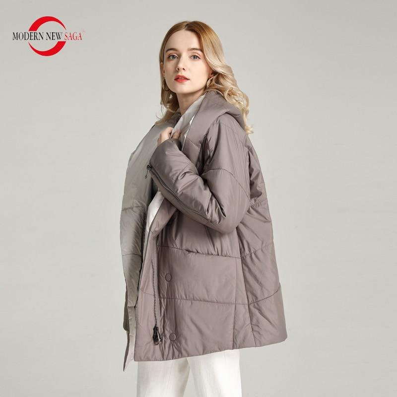 MODERN NEW SAGA 2020 Spring Jacket Women Thin Padded Jacket Polyester Autumn Women Coat Hooded Bubble Jacket Big Size Outerwear