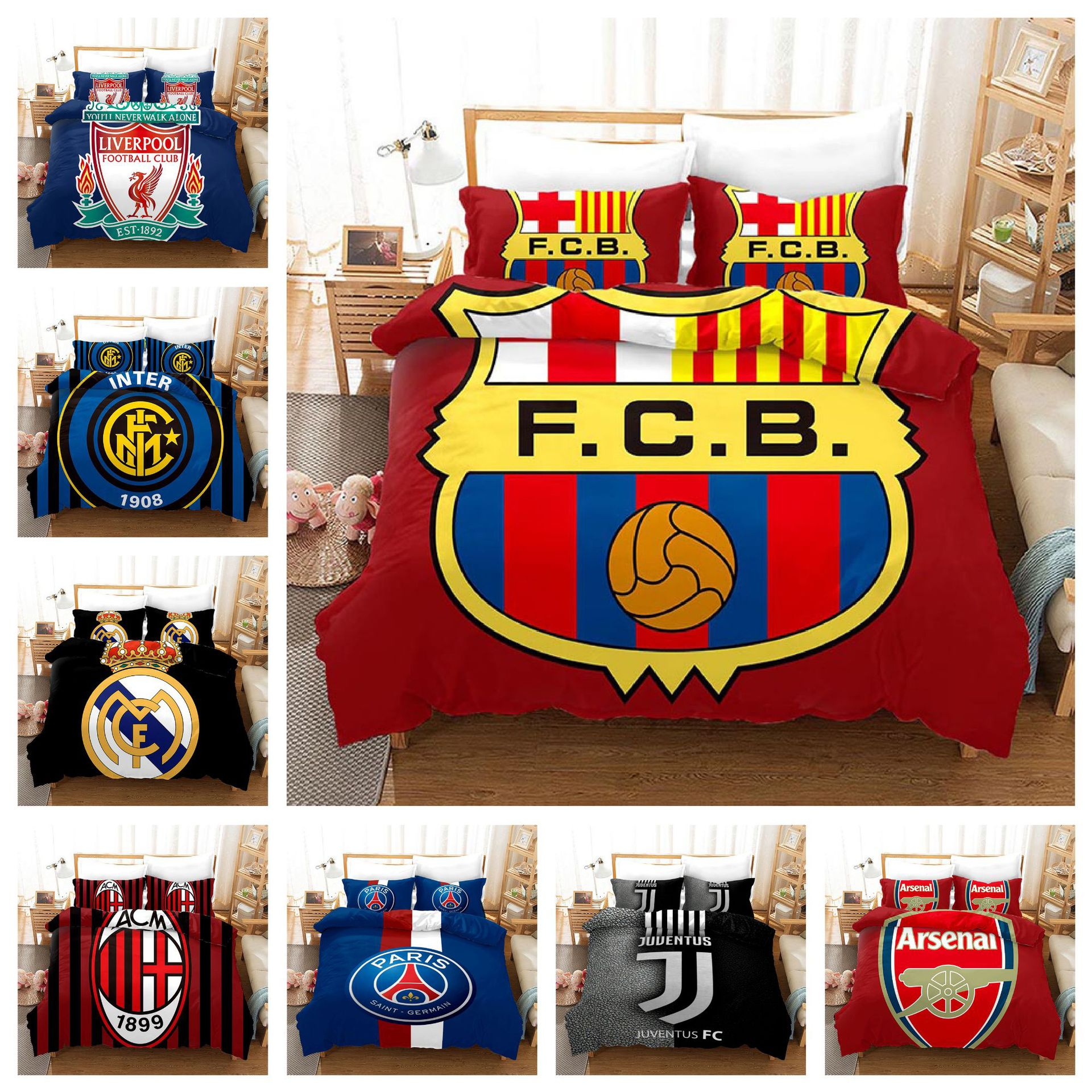 Football Team Pattern Bedding Set Hot Selling Foreign Trade Home Textile Quilt Cover Two-piece Set Comforter Bedding Sets