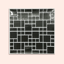 Backsplash self-adhesive mosaic wall tile sticker (20pcs) DIY bathroom-kitchen-home decoration vinyl decorative black marble fashion stainless steel metal mosaic glass tile kitchen backsplash bathroom shower background decorative wall paper wholesale