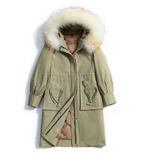 2019 New Winter Women Duck Down Coat Real Fur Hooded Slim Pockets Thick X Long Zipper Jackets Parka Plus Size Liner Detachable стоимость