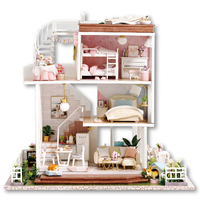 Diy Miniature Dollhouse Three storey Villa Large Wooden Doll House with Furniture Mini House Model Toys for Grownups Girls Gift